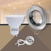 Billenthető matt króm kerek keret 5W meleg fehér spot LED Szett