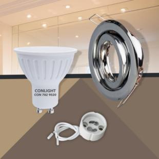 Billenthető króm kerek keret 5W hideg fehér spot LED Szett