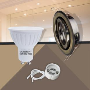 Billenthető matt réz kerek keret 5W meleg fehér spot LED Szett