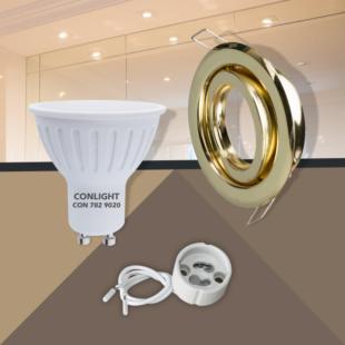 Billenthető arany kerek keret 5W hideg fehér spot LED Szett