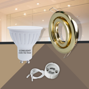 Billenthető arany kerek keret 5W napfény fehér spot LED Szett
