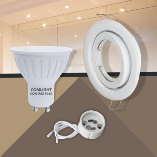 Billenthető fehér kerek keret 5W meleg fehér spot LED Szett
