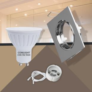 Billenthető króm négyzet keret 5W hideg fehér spot LED Szett