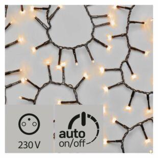 LED karácsonyi fények, kültéri, 12m, borostyán, időzítővel