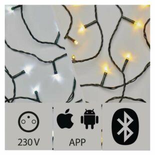 LED-es karácsonyi fények applikációval, 20m, kültéri,WW/CW