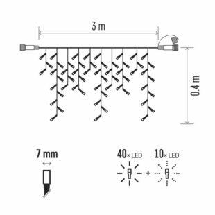 Profi LED összekötő rendszer fekete-jégcsapok, 3m, WW