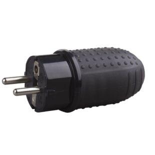 GAO Földelt lengő dugó (gumi) középső kivezetéses, fekete; 250V, 16A