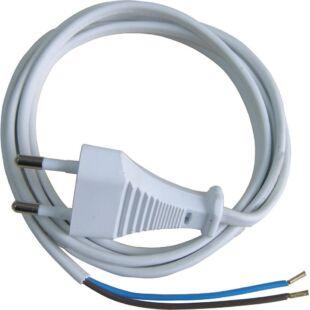 GAO Csatlakozóvezeték euró dugóval, 1.5m fehér; 250V, 6A, 1.5m, H03VVH2-F 2x0.75mm², IP20