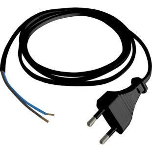 GAO Csatlakozóvezeték euró dugóval, 1.5m fekete; 250V, 6A, 1.5m, H03VVH2-F 2x0.75mm², IP20