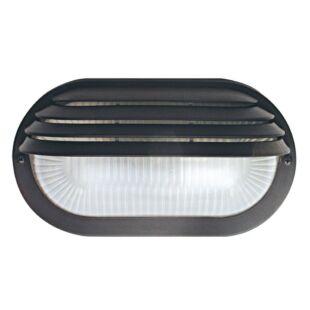 GAO Hajólámpa, ovális, félig fedett, műanyagráccsal, fekete