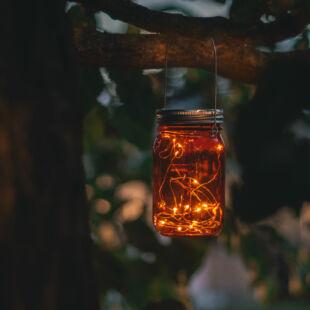 Felakasztható üveg szolár lámpa - hidegfehér microLED-ekkel