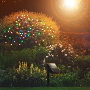 LED-es szolár fényfüzér - 50 db színes LED - 2 funkció - 5+2 m