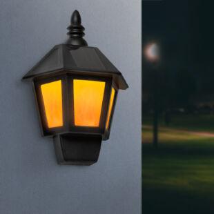 2 az 1-ben szolár fali lámpa, lánghatással, hidegfehér LED-del - 28 x 19,5 x 9,6 cm