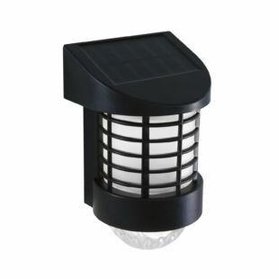 LED-es szolár fali lámpa - melegfehér - fekete - műanyag