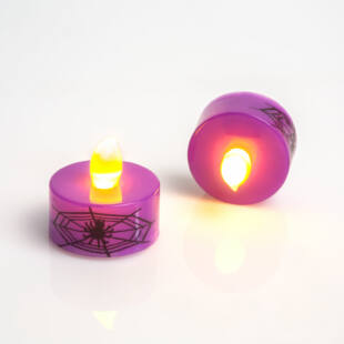 LED teamécses - Halloween, lila - 2 db / csomag