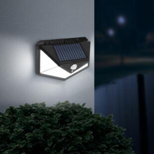 Mozgásérzékelős szolár reflektor - fali - 136 LED
