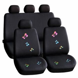 Autós üléshuzat szett - pillangós / fekete - 9 db-os - HSA009