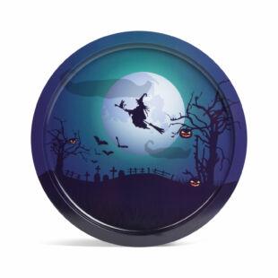 Halloween-i tálca - boszorkány - fém  - 31 cm