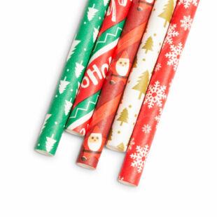 Papír szívószál - Karácsonyi - 197 x 6 mm - 25 db / csomag