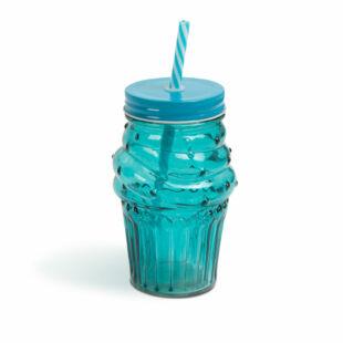 """Üvegpohár szívószállal - """"Candy""""  - 450 ml"""