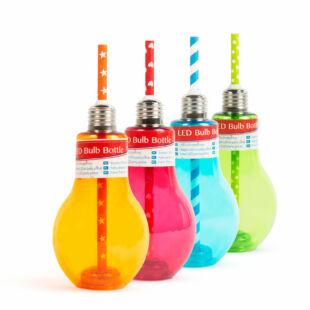Világító LED-es party pohár - papír szívószállal - izzókörte, színes - 400 ml