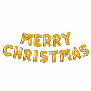 """3D Karácsonyi """"Merry Christmas"""" lufi - arany"""