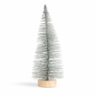 Mini dekor műfenyő - 15 cm - csillogó ezüst