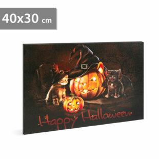 Halloween-i LED-es hangulatkép - fali akasztóval, 2 x AA, 40 x 30 cm