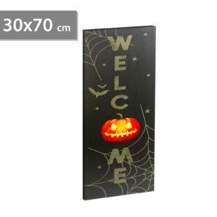 Halloween-i LED-es hangulatkép - fali akasztóval, 2 x AA, 30 x 70 cm