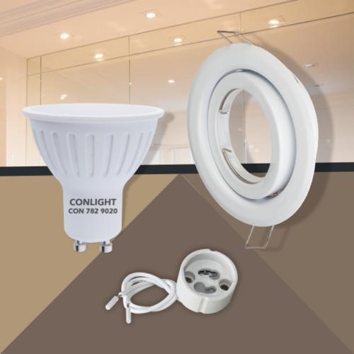 Billenthető fehér kerek keret 5W napfény fehér spot LED Szett