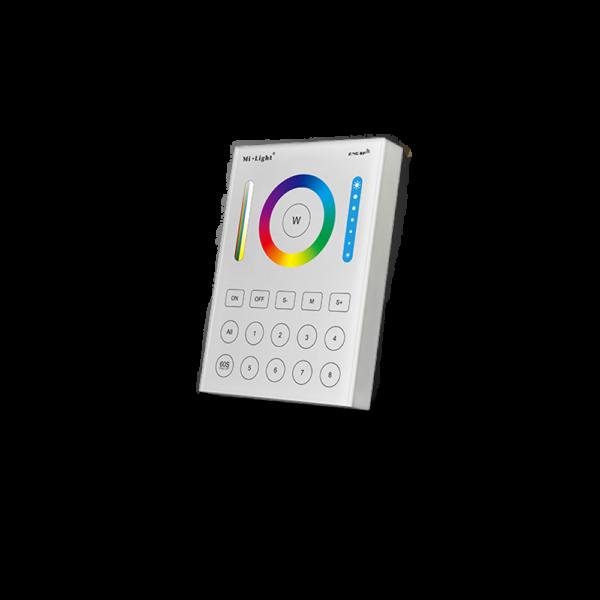8 zónás RF (WiFi) RGB, RGBW, CCT, dimm. Touch fali vezérlő panel