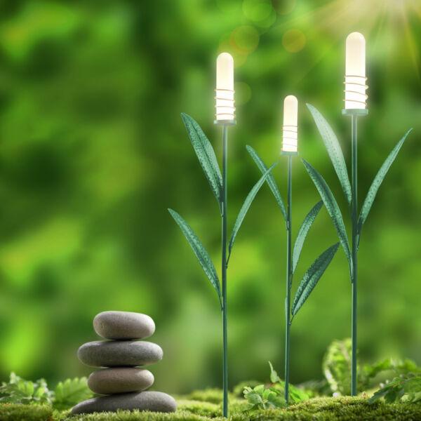 LED-es szolár lámpa - nád formájú - melegfehér - fém - 3 db / csomag