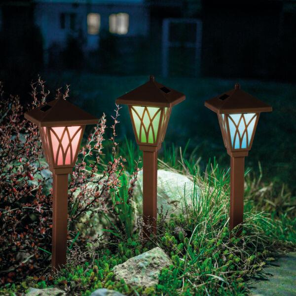 LED-es szolár lámpa - RGB - barna - műanyag