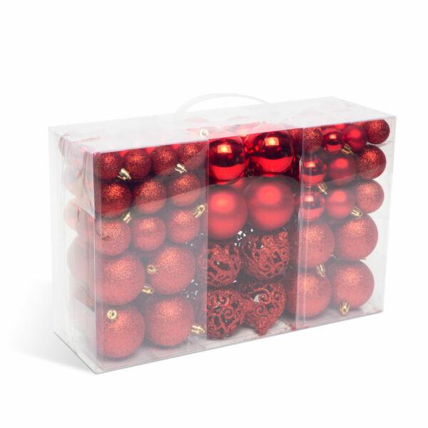 Karácsonyi gömbdísz szett - 100 db / csomag - piros