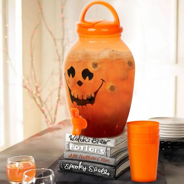 Italadagoló csappal, műanyag pohárszettel - halloweeni tök - 4,4 l