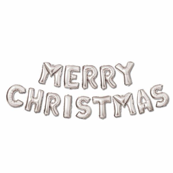 """3D Karácsonyi """"Merry Christmas"""" lufi - ezüst"""