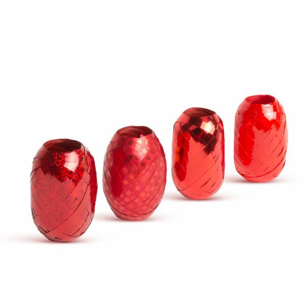 Karácsonyi ajándék szalag - ezüst, piros, arany - 4 db / csomag