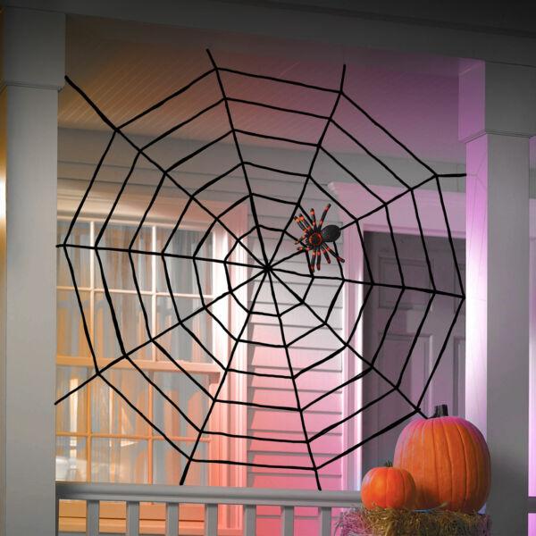 Plüss pókháló - halloween-i dekoráció - 200 cm - fekete