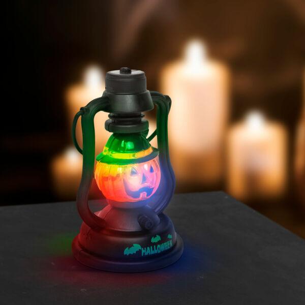 Halloween-i LED lámpa kacagás hangeffekttel - tök - elemes